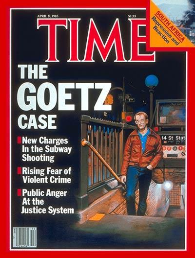 Обложка журнала Time, апрель 1985 г., процесс над Гетцем в самом разгаре