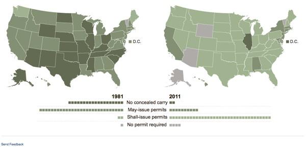 Количество штатов разрешающих скрытое ношение оружие существенно увеличилось