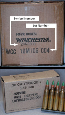 "Boxes marked with the symbol number ""ZGQ3308″ and the lot number ""WCC10M106-004″"