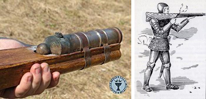 Ручная бомбарда XIV века и производство выстрела из неё