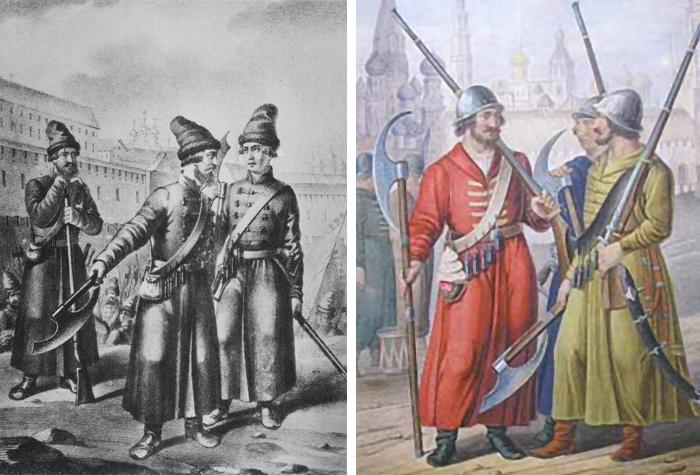 Московские стрельцы, конец XV века. Для зарядки фитильных ружей применялись берендейки