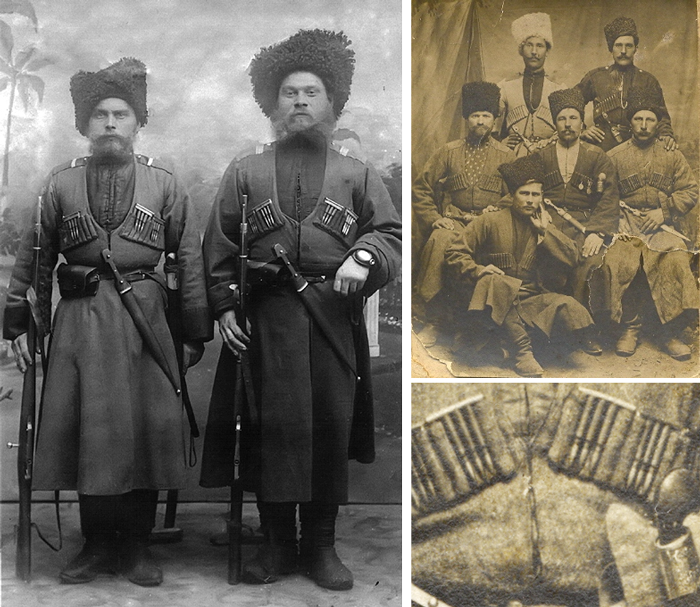 Кубанские казаки периода Первой мировой войны. В нагрудные газырницы вставлены обоймы с патронами.