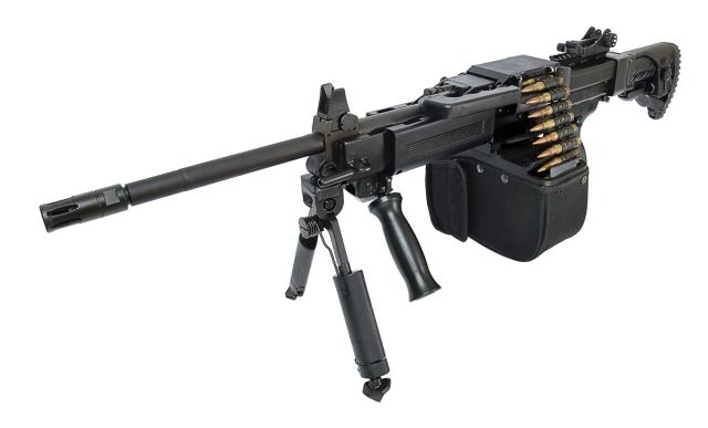 The New Israeli Weapon Industries (IWI) NEGEV NG7 7.62mm caliber LMG Light Machine Gun with semi-automatic mode.