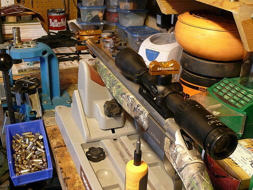 Wheeler PRLS на винтовке CVA Optima V2 установленной на станок Gun Vise компании Tipton