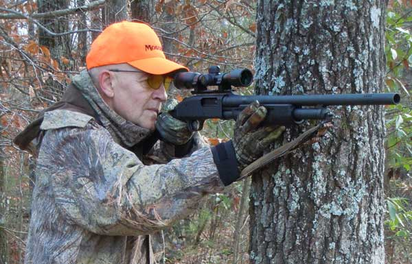 With the rifled cantilever-mount slug barrel, the author is well set up for whitetail.