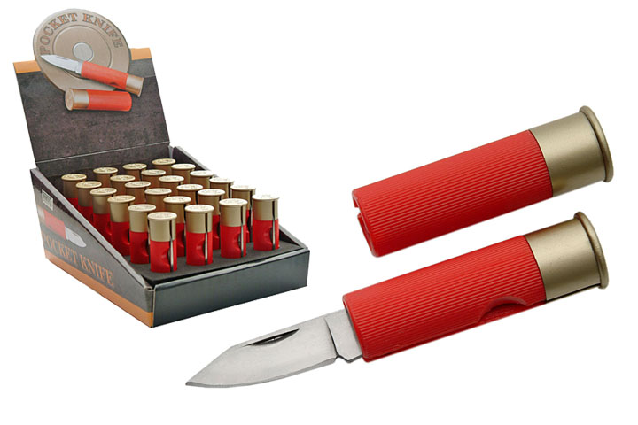 20 gauge red shot gun bullet knife