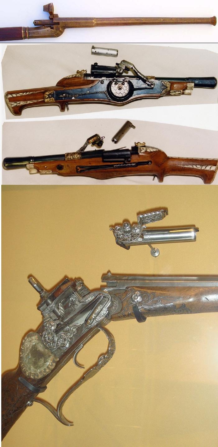 Сверху вниз: Бронзовая казнозарядная ручница, 1480 г., Казнозарядный колесцовый пистоль, 1545 г., Кремнево ударный замок типа микелет в казнозарядном исполнении, 1715 г.
