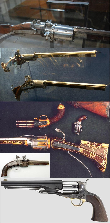 Револьверы XVI-XIX вв - от фитильного до серийного капсюльного.