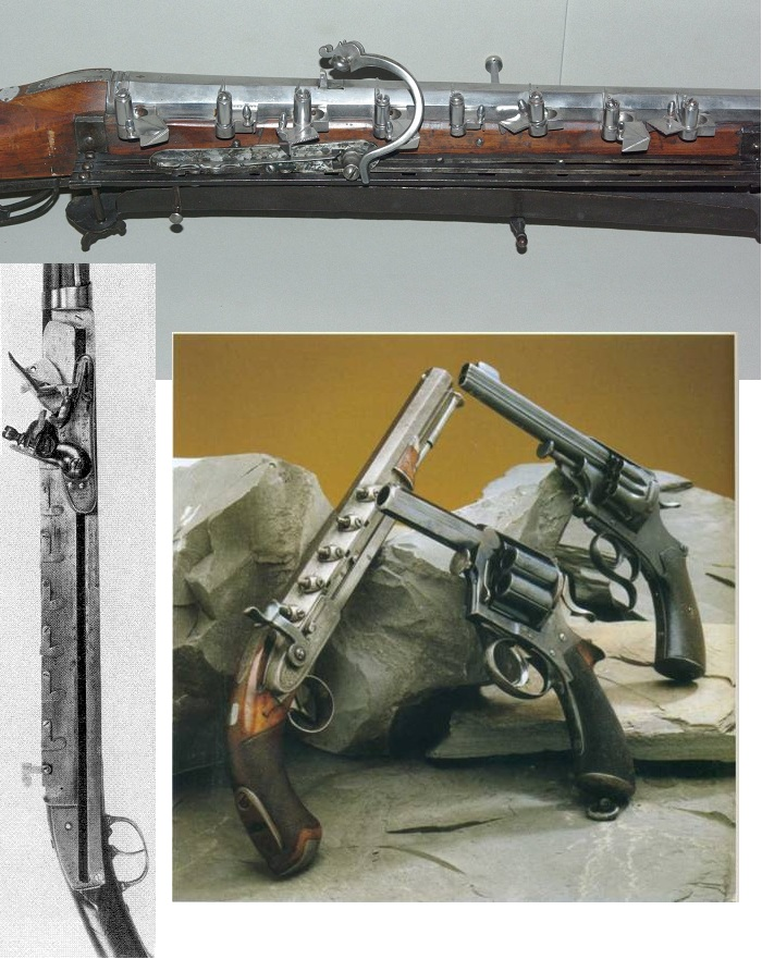 Фитильное, кремневое и капсюльное оружие выполненное по схеме поочередной зарядки в один ствол.