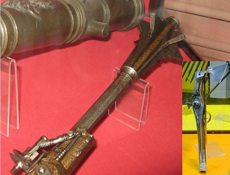 Собственно пистолеты с шестопером и топором, XVI век.