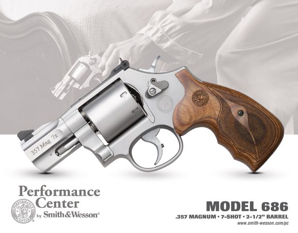 Model 686 Performance Center double-action revolver, offering a 2.5-inch barrel and seven .357 Magnum rounds for ultimate defensive applications