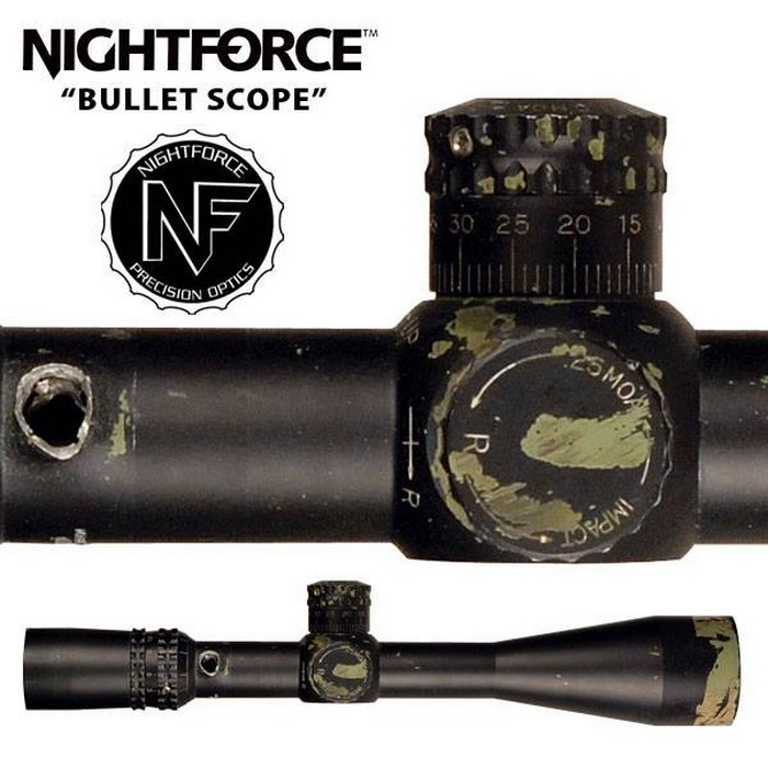 Прострелений приціл фірми Nightforce