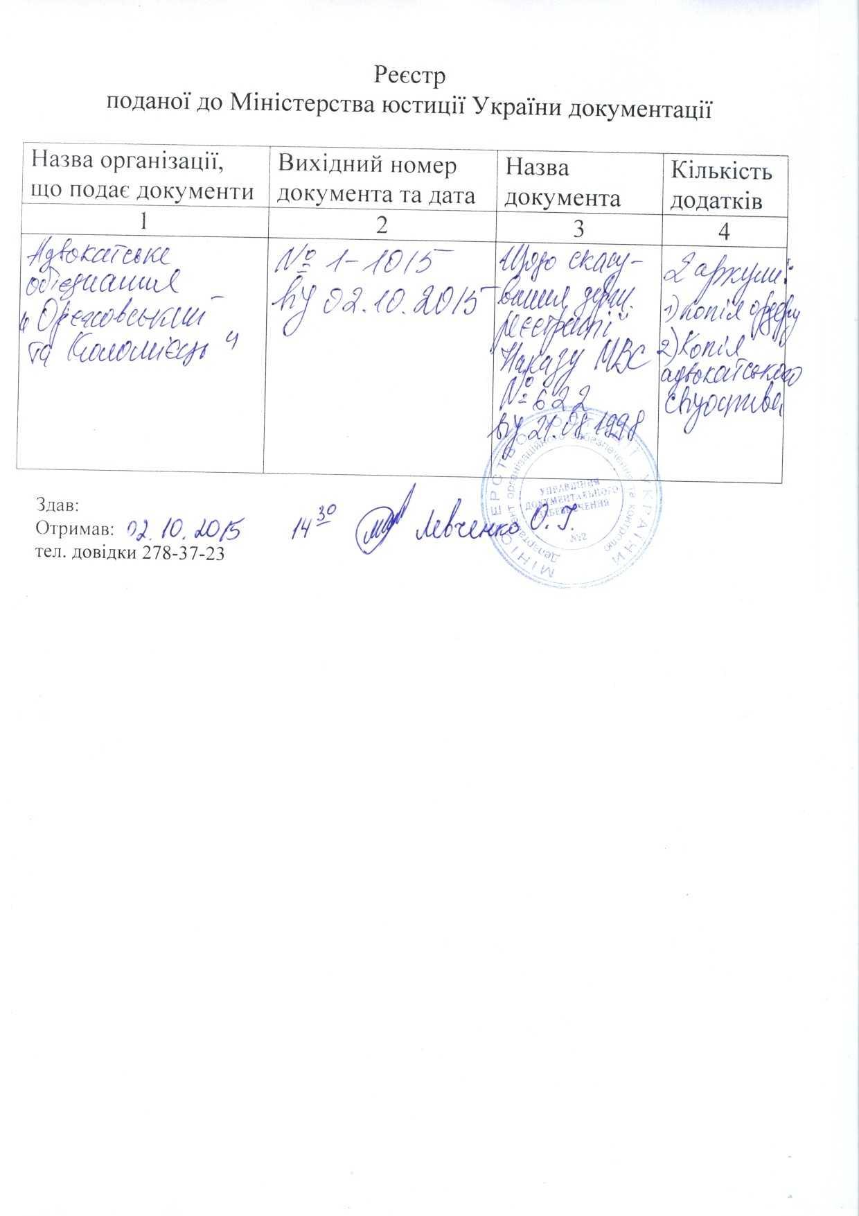Докази реєстрації в Мінюсту.