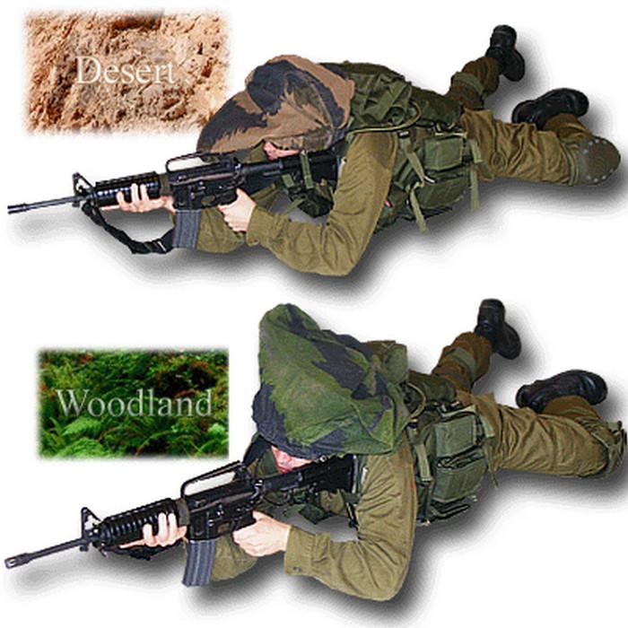 Мицнефет из двусторонней маскировочной сетки можно использовать как под лес, так и под пустыню, выворачивая его в нужный момент наизнанку