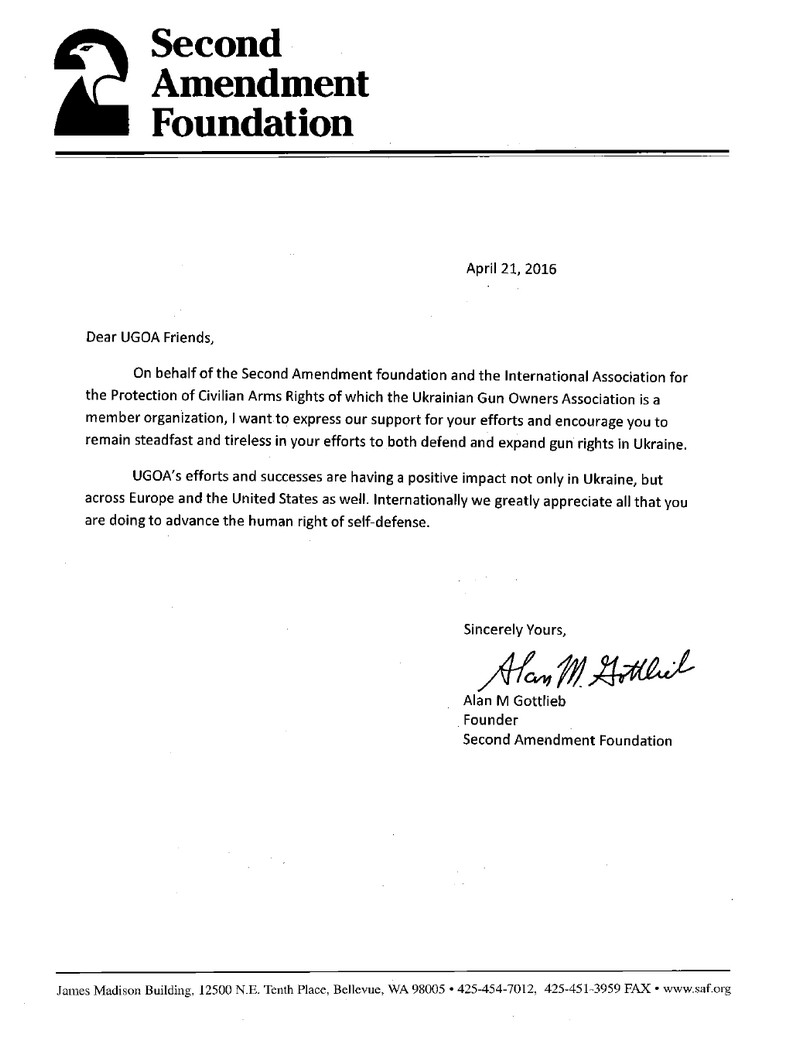 Letter from Second Amendment Foundation