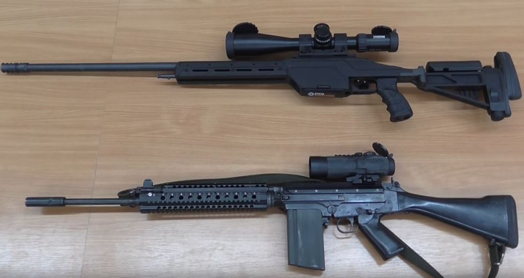 Steyr Mannlicher, I think an SSG 08, with a Steiner rifle scope, not bad. FN FAL with Picatinny fore end.  The SSG rifle looks brand new and even has the Steyr Mannlicher sticker on the magazine. If you know anyone who is missing his/hers I'm sure the SBU would like to know.