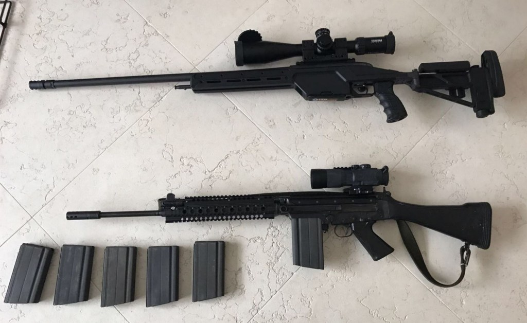 The Steyr SSG 08 is a 6 000 USD rifle, plus the optics which I guess are about 3 000 USD.