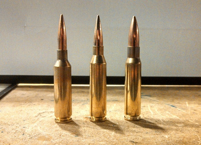 Зліва направо: 6 mm Creedmoor, .260 Rem, .308 Win.