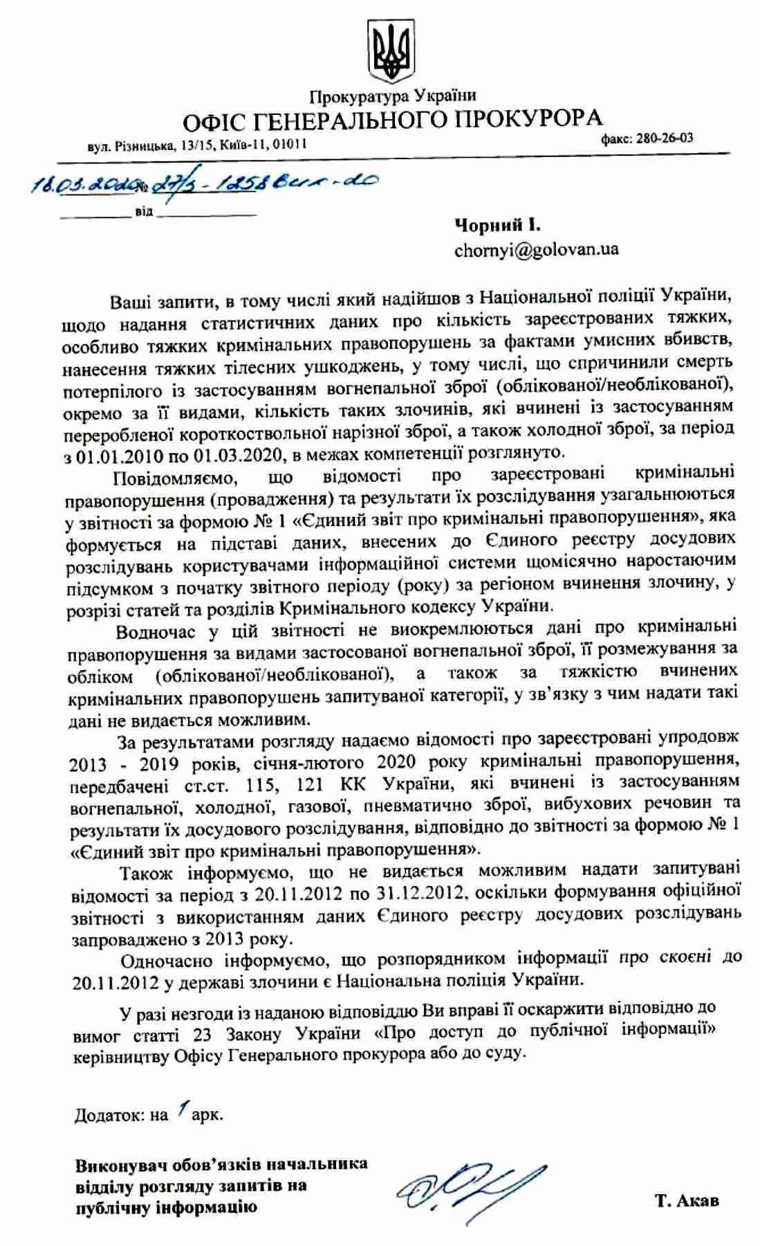 Лист від ОГП.