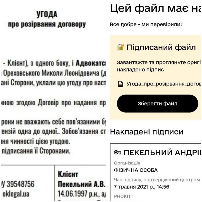 Угода про припинення договору з цифровим підписом Пекельного
